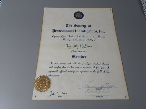 1980 Member Certificate The Society of Professional Investigators New York