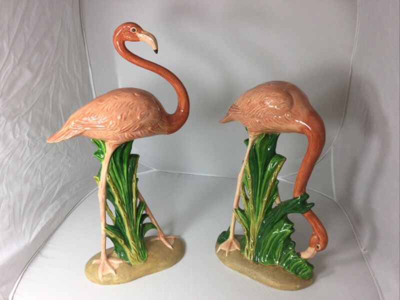 "Vintage ""Large"" Mid-Century Ceramic PINK FLAMINGO Figurines Art Deco Statuary"