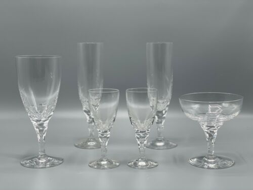 """Lot of Six ORREFORS Crystal """"Carina"""" Thumbprint Glasses - Champagne Water Sherry"""