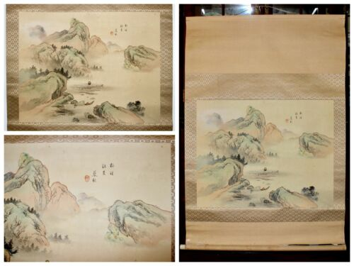 Showa Japanese Ukiyo-E Landscape Hand Painted Kakejiku Scroll Signed Seal 46.5""
