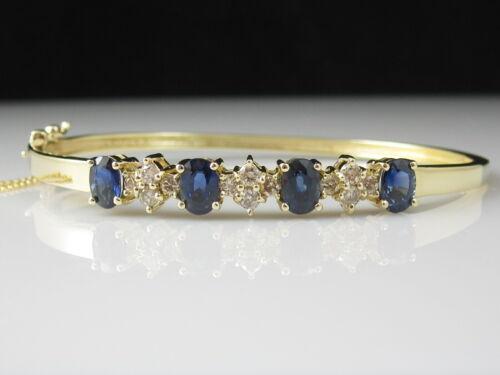 Sapphire Diamond Bracelet 14K Yellow Gold Hinged Bangle Safety Fine Jewelry Blue