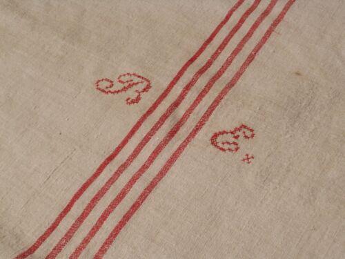 Antique European Feed Sack GRAIN SACK BE Monogram # 10488