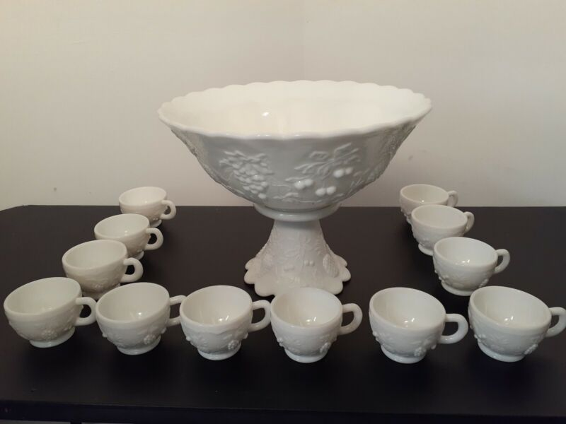 Westmoreland Milk Glass Punch BowlSet with 12 Cups Pineapple Grapes Cherries