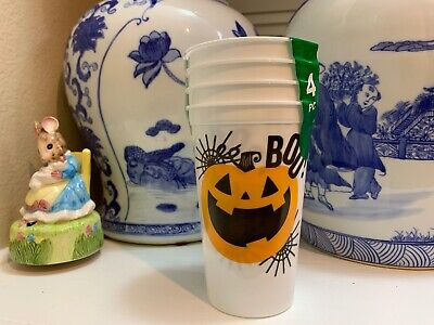 TRICK OR TREAT plastic 19.2 fl.oz.party drinking cups 4-pack Halloween Pumpkins