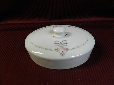 Westmoreland Milk Glass Hand Painted Roses Bows Oval Covered Chocolate Box