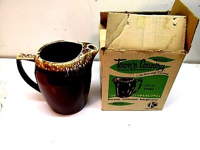 "McCOY Kathy Kale Brown Drip Pottery 2+ Quart Pitcher Ice Lip 8.5""  NEW-IN-BOX"