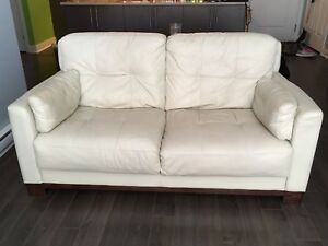 2 White leather couches