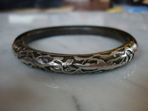 Antique Chinese Bamboo Rattan Sterling Silver Bangle Bracelet