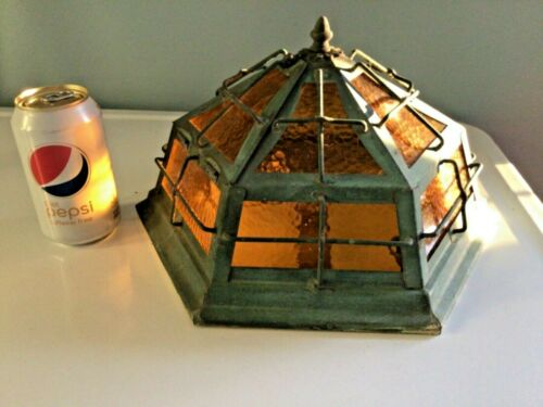 Arts Craft Mission Amber Bubble Glass Ceiling Light Copper Explosion Proof Cage