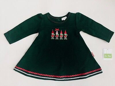 NEW Le Top Baby Girl 3,6,9 Month Holiday Elves Green Knit French Rib Warm Dress