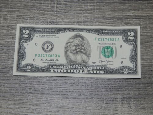 The Santa Claus Dollar Bill Real U.S. Two $2 Dollar Bill Money Santa Dollar NEW
