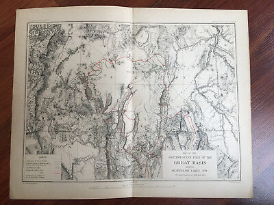 1883 Reconnaissance Map NW US Great Basin Oregon Nevada Showing Quaternary Lakes