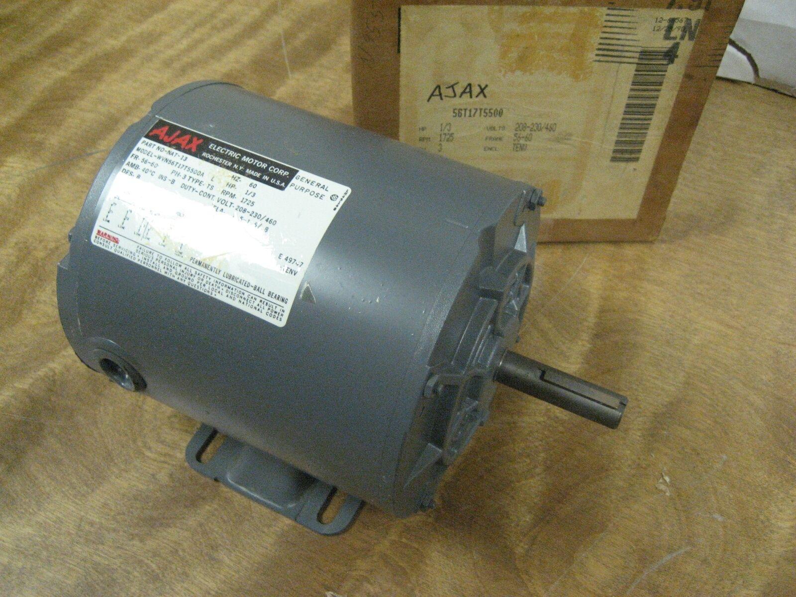 Ajax 1 3 Hp Ac Motor N0 Nat 13 208 230 460vac 60hz