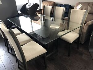Glass Table and 6 Chairs (BRAND NEW)