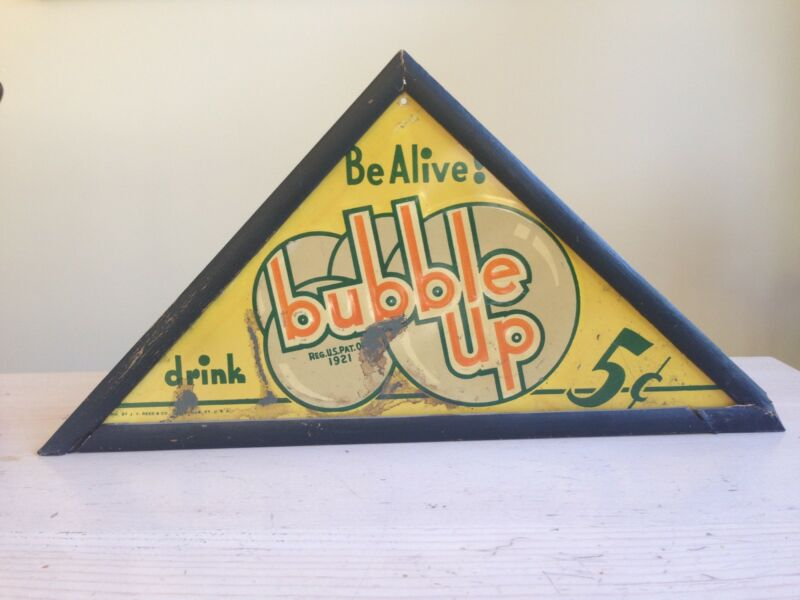 Original Early Bubble Up Tin Advertising Sign