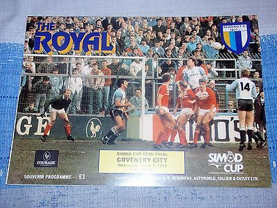 READING V COVENTRY CITY PROGRAMME /  2/3/1988 SIMOD CUP SEMI FINAL