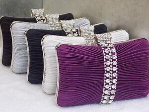 Ivory Silver Navy Purple Crystal Diamante Satin Wedding Clutch Purse Bag 049 UK | EBay