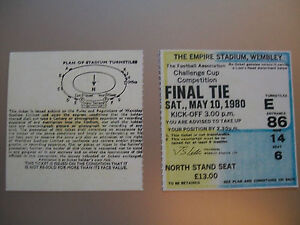 1980 F.A. Cup Final Ticket Arsenal v West Ham United mint condition.