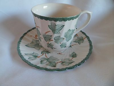 British Home Stores country vine cup/saucer colour cream/green made in England