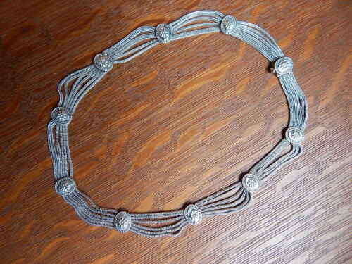 Vintage Rajasthan India Tribal Sterling Silver Choker Necklace East Indian