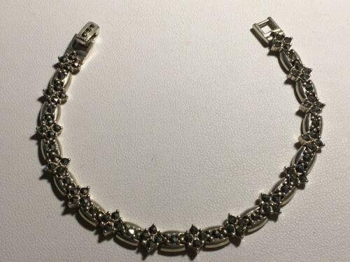 """Sterling Silver~MARCASITE BRACELET~925~Link Design~7"""" LONG~17 GRAMS"""