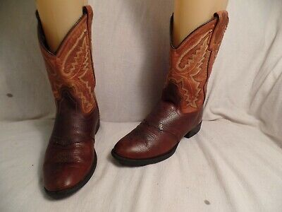OLD WEST LEATHER UPPER SADDLE STYLE WESTERN COWBOY BOOTS GIRLS SIZE 1.5 BROWN