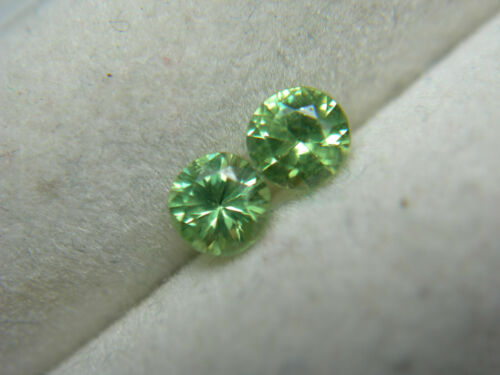 2 rare Demantoid Garnet gems Green Dragon Mine Namibia Genuine Diamond Cut 0.42c