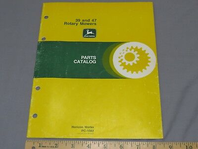 Vintage John Deere 39 47 Mounted Mower for 110 214 Tractor Parts Catalog PC-1082