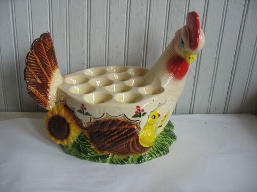 """Vintage Ceramic Pottery Chicken Hen egg holder Centerpiece Chick Sunflower 12"""""""