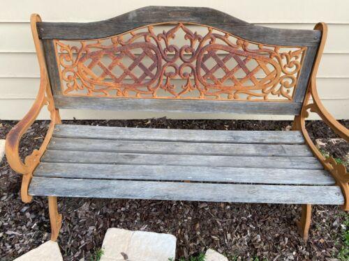Antique Cast Iron & Wood-Slat Park Bench