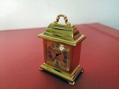 MINIATURE Contemporary 'Wellington' Brass Desk Quartz Carriage Clock Pomme Hands