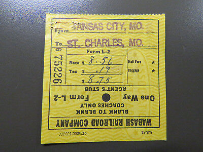 1963 Wabash Railroad Ticket - Kansas City, MO, St. Charles, MO for sale  Columbia