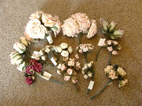 Vintage Millinery Flower Collection Pink White Rose Ecru Fabric Paper 12Bunches