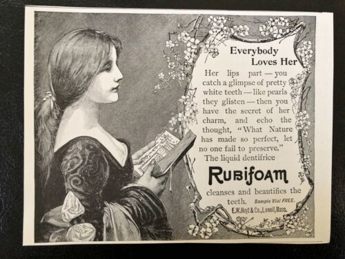 1897 RUBIFOAM Liquid Dentifrice Vtg Print Ad Pretty Girl~E W Hoyt&Co.Lowell,Mass