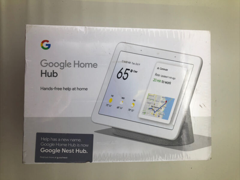 Google Nest Hub with Google Assistant Chalk GA00516-US Smart Home Display