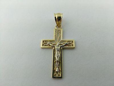 14K Solid Gold 2 Tone Filigree Cross Beautiful and Elegant. Cristo de 2 tonos