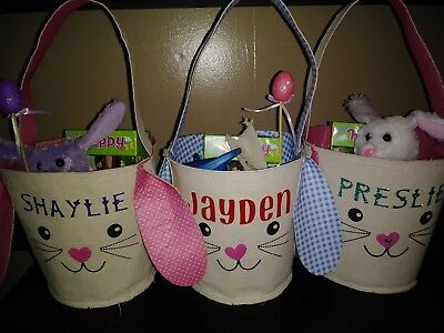 Personalized Easter baskets and Plush Bunnies made to order, get your orders in!
