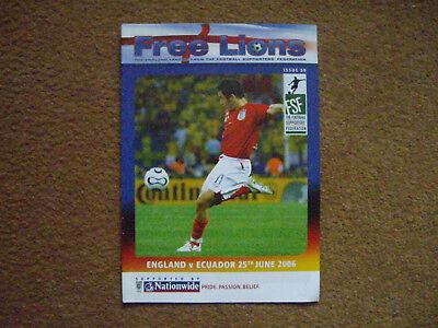 ENGLAND V ECUADOR FREE LIONS, 25/6/2006, ISSUE 59, WORLD CUP 2006
