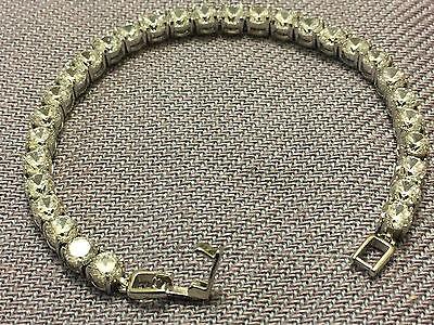 "7 "" Tennis Women's Bracelet Diamond Round 14k White Gold Clear Stones 5 Carat"