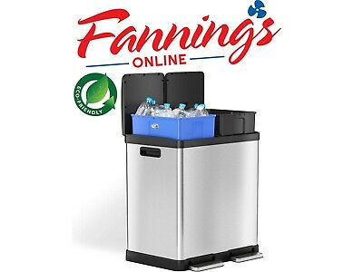 iTouchless 16 Gallon Dual Step Trash Can & Recycle, Stainless Steel Lid and Bin