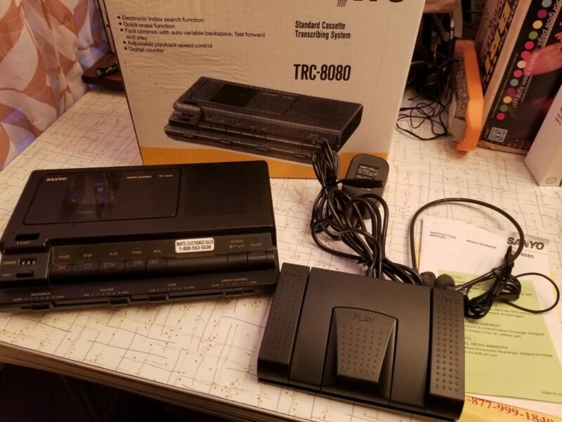 Sanyo TRC-8080 Memo-Scriber Standard Cassette Transcribing System w/ Foot Pedal