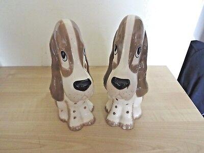 TWO Vintage 1960s English Retro Kitsch SZEILER  Ceramic Dogs  Wedding Home Decor