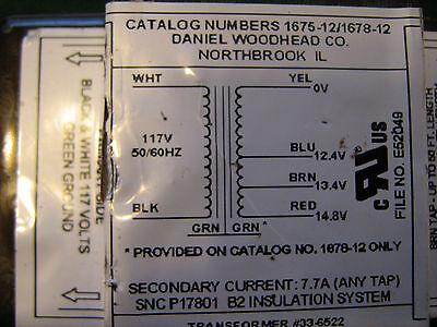 Daniel Woodhead Filament Transformer 1678-12 Nos 12.413.414.8 Acv7.7amps