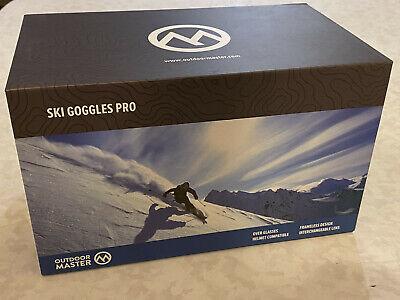 NEW Outdoor Master Ski Goggles PRO Blue Frameless Interchangeable Lens Snow