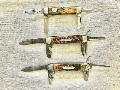 Antique/Vintage Scout/Utility Knives Lot of 3. CATTARAUGUS, S&A CO., ROBESON