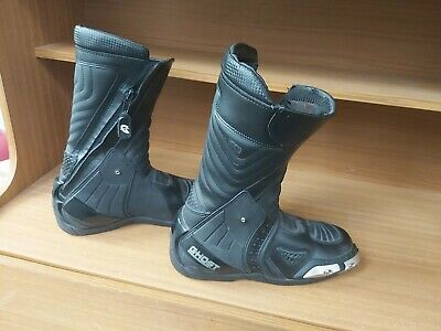 Old Ghost Black Leather Motorcycle Boots - Size 7 Seven