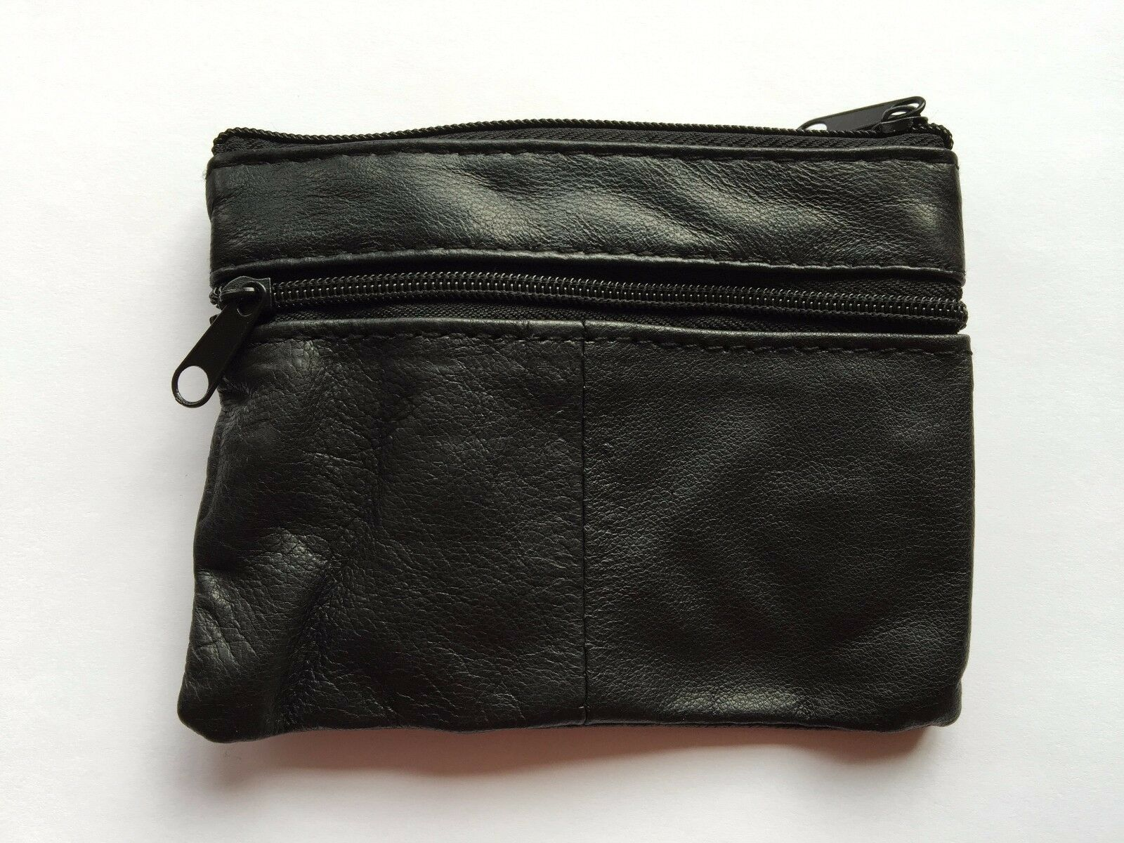 6469b637a3e Details about MENS WOMENS BOYS BLACK LEATHER ZIP COIN PURSE WALLET POUCH  KEY RING CASE MONEY