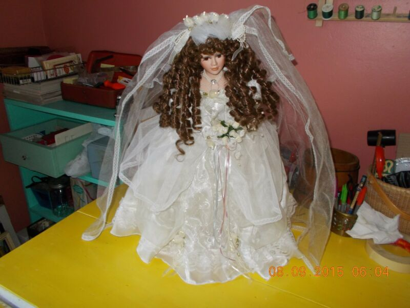 """BEAUTIFUL VINTAGE PORCELAIN BRIDE DOLL WITH STAND-CATHAY-20"""" TALL"""