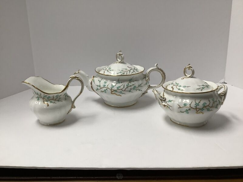 Minton Porcelain 3pc. Teaset. Raised Green Enamel Gold Antique England