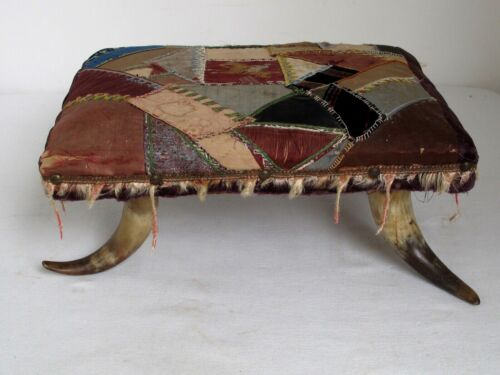 "Antique Steer Horn Foot Stool with Crazy Quilt Cover 1880""s"